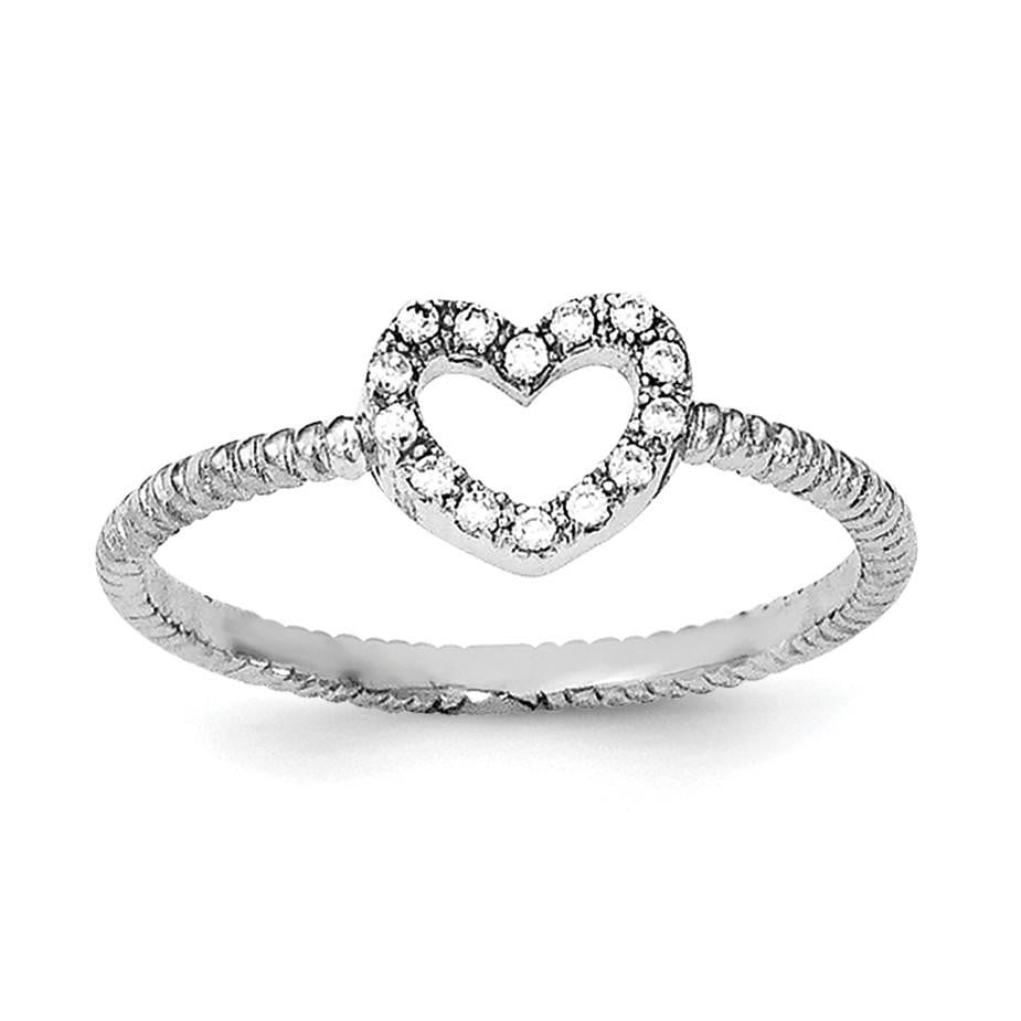 Sterling Silver Rhodium-plated Polished & Textured CZ Heart Ring - shirin-diamonds