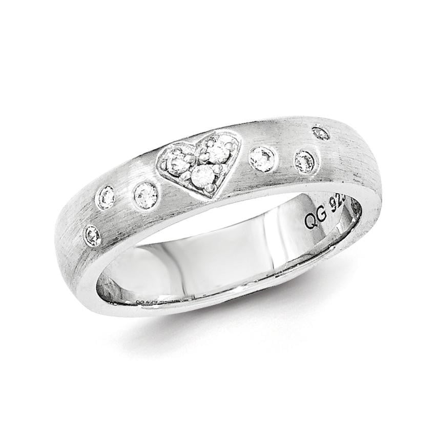 Sterling Silver Brushed CZ Heart Ring - shirin-diamonds