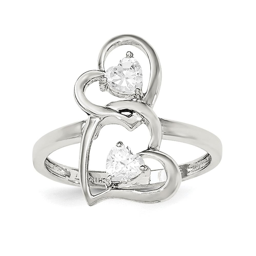 Sterling Silver Rhodium-plated CZ Double Heart Ring - shirin-diamonds