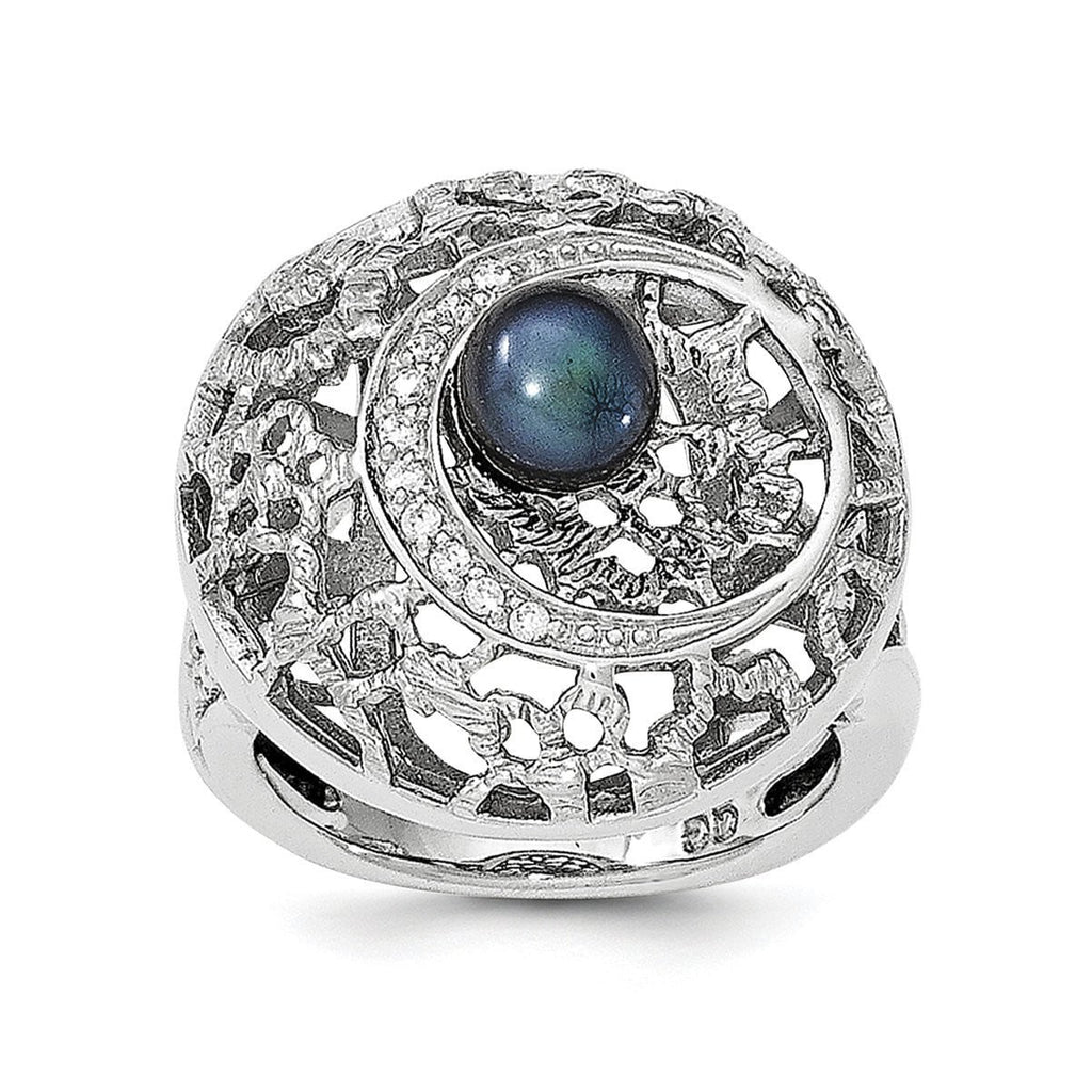 Sterling Silver Rhod-plated Black FW Cultured Pearl and CZ Round Ring - shirin-diamonds