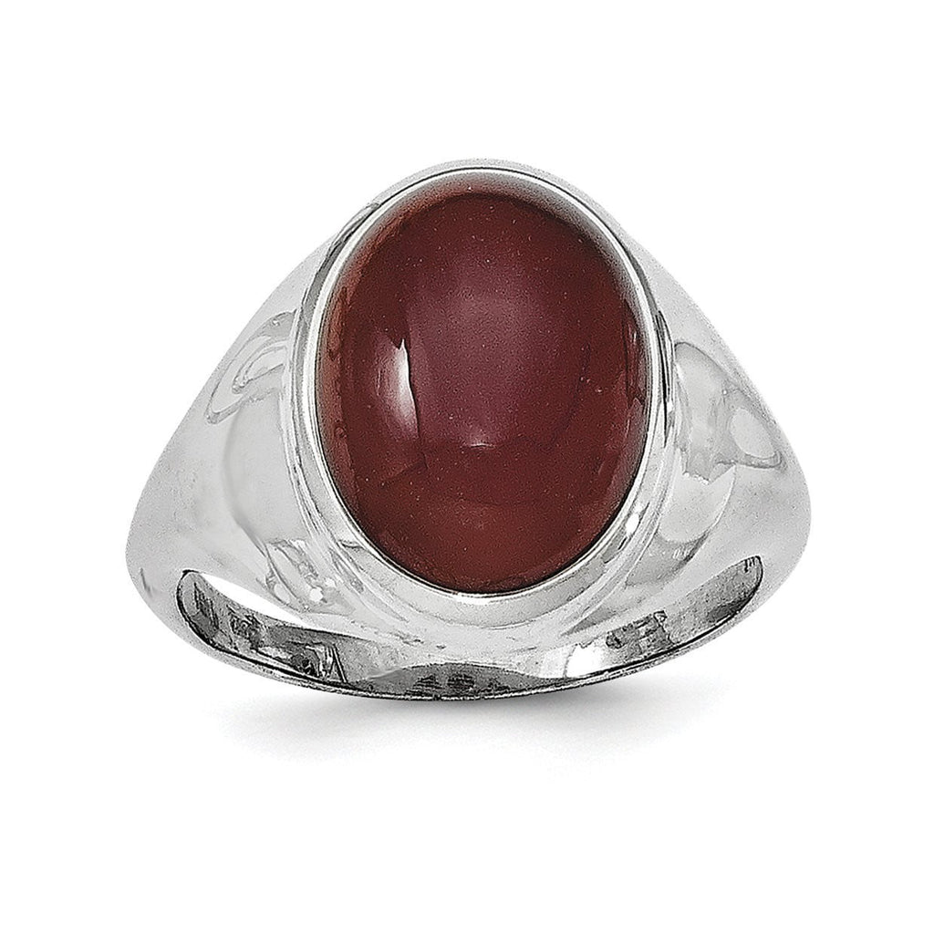 Sterling Silver Rhodium-plated Red Agate Ring - shirin-diamonds