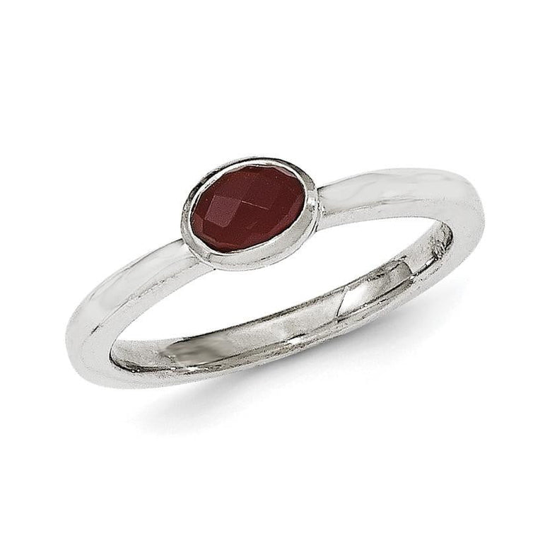 Sterling Silver Red Agate Ring - shirin-diamonds