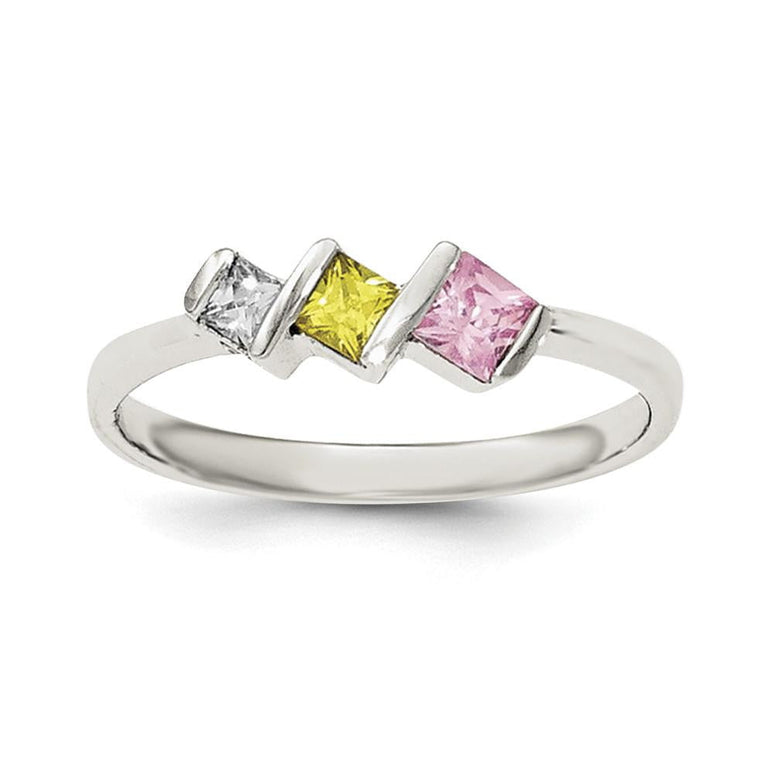 Sterling Silver Polished White,Yellow,Pink CZ Ring - shirin-diamonds