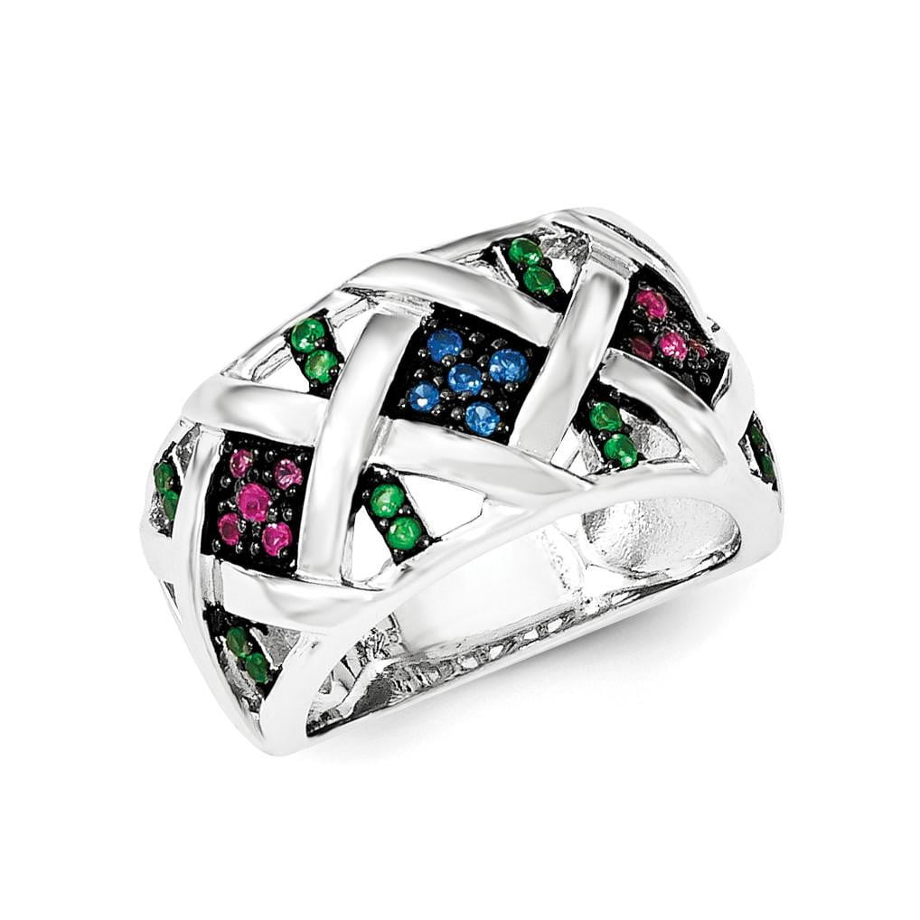 Sterling Silver Synthetic Ruby& Synthetic Blue & Green Spinel Ring - shirin-diamonds