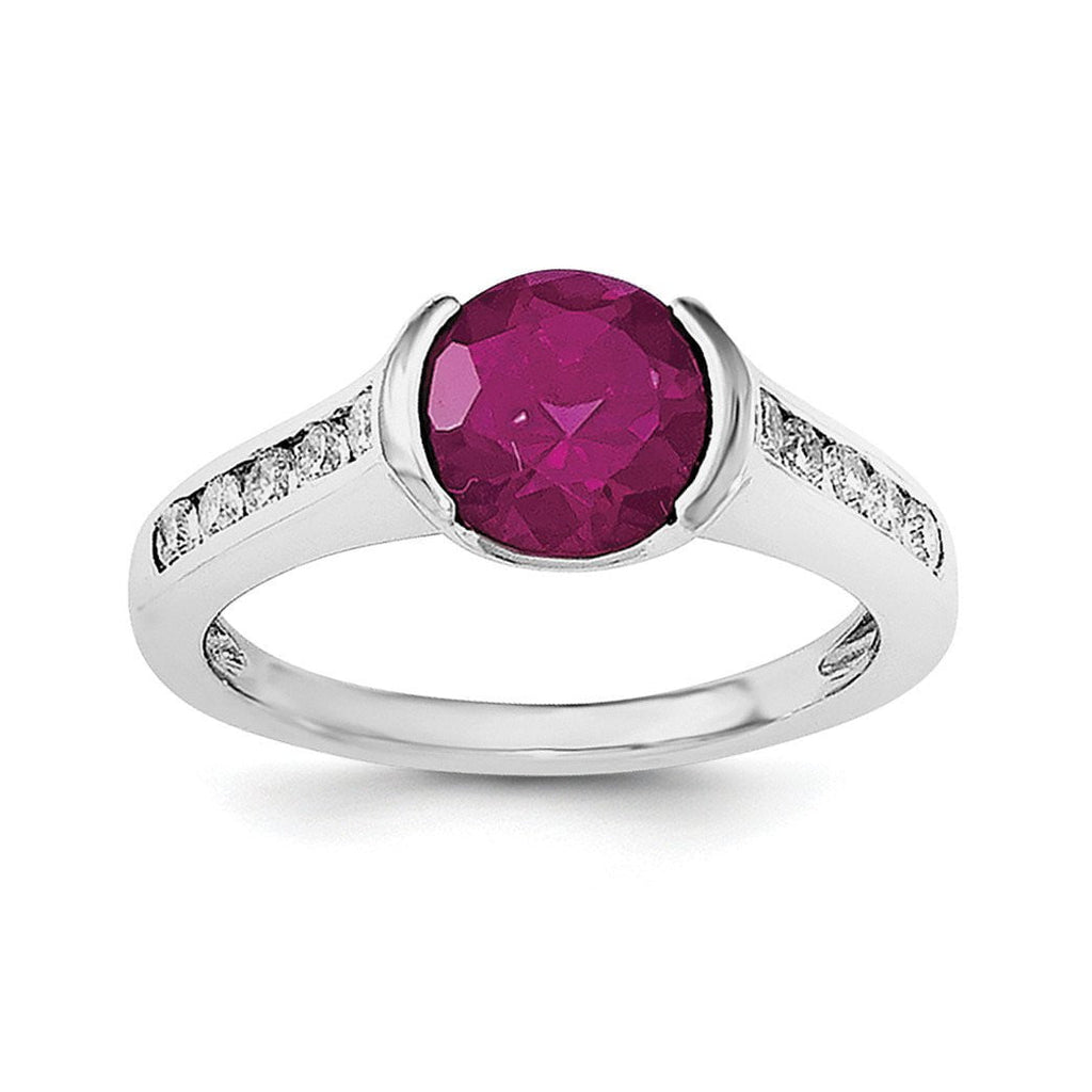 Sterling Silver Rhodium-plated Synthetic Ruby & CZ Bezel Ring - shirin-diamonds