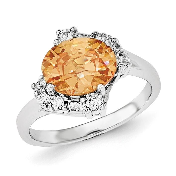 Sterling Silver Champagne & Clear CZ Ring - shirin-diamonds