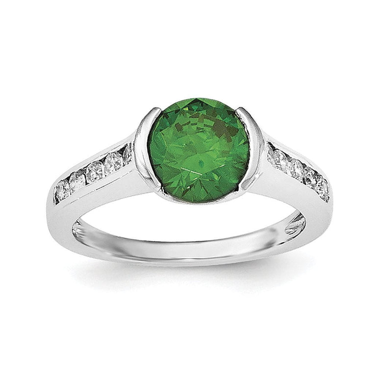 Sterling Silver Rhodium-plated Green & White Bezel CZ Ring - shirin-diamonds