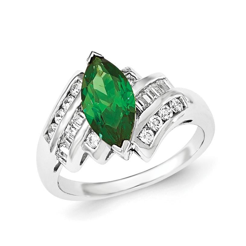 Sterling Silver Green & White Marquise CZ Ring - shirin-diamonds