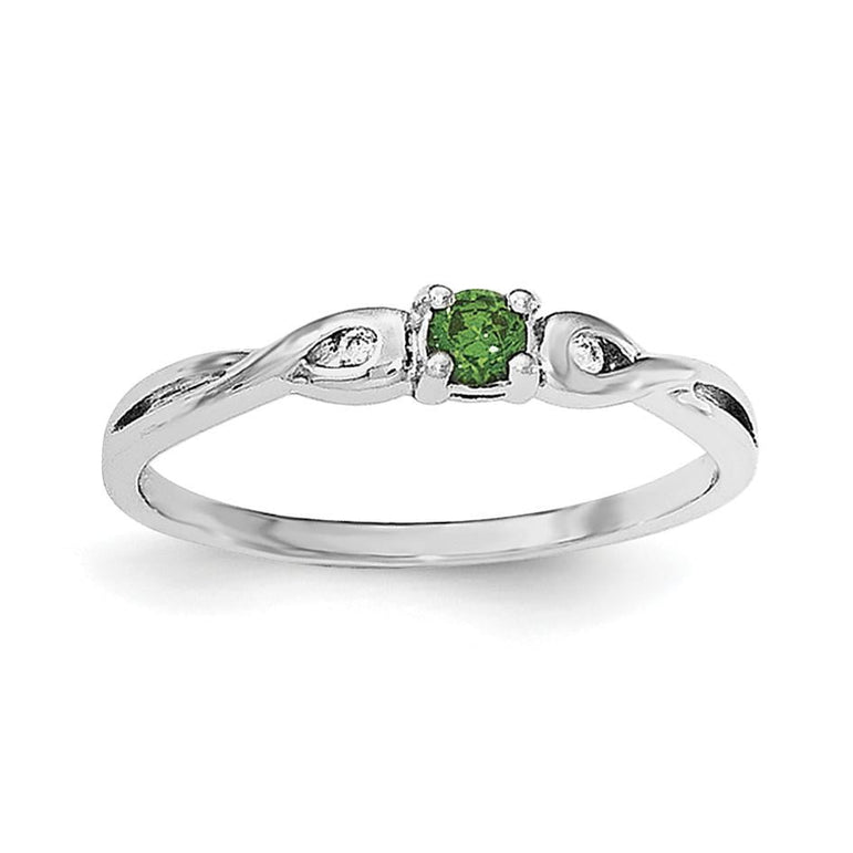 Sterling Silver Rhodium-plated Green & White CZ Ring - shirin-diamonds