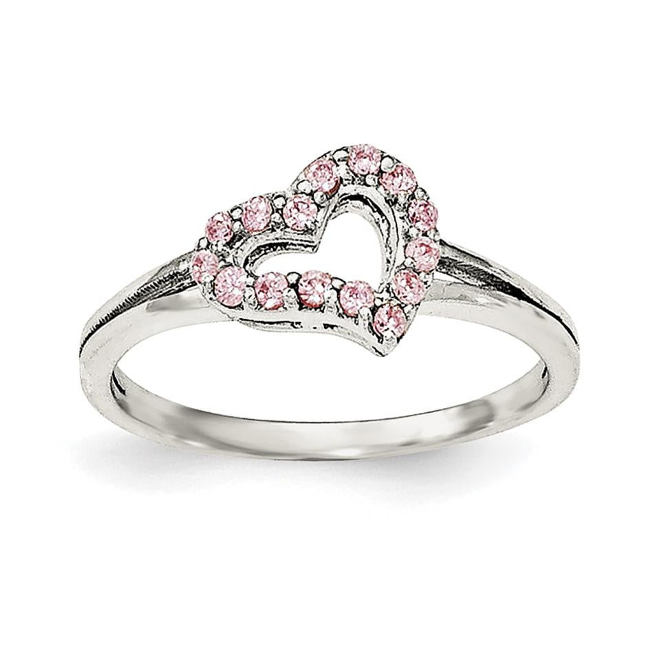 Sterling Silver Polished Pink CZ Heart Ring - shirin-diamonds