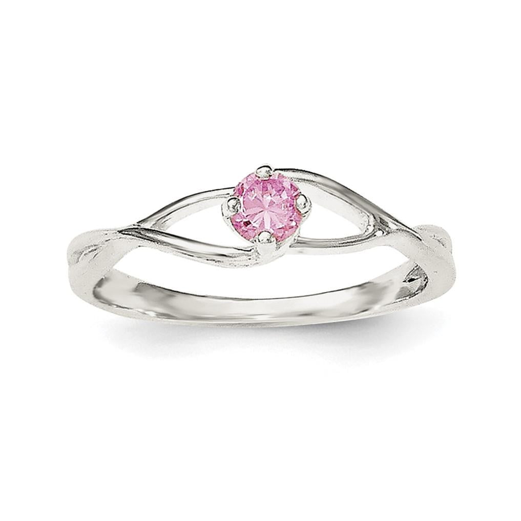Sterling Silver Pink CZ Sol Ring - shirin-diamonds