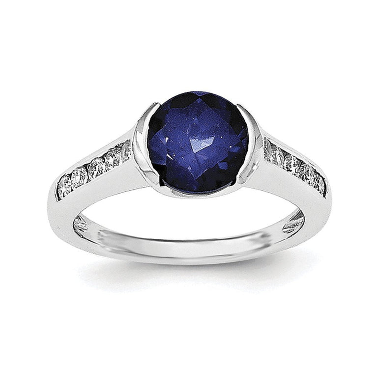 Sterling Silver Rhodium-plated Synthetic Blue Sapphire & CZ Bezel Ring - shirin-diamonds