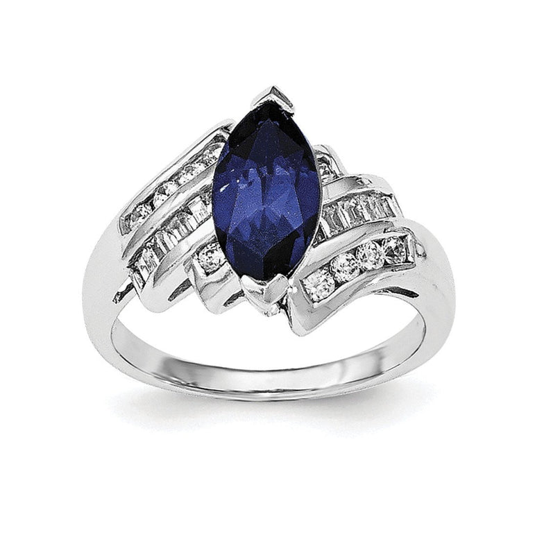 Sterling Silver Rhodium-plated Synthetic Blue Sapphire & CZ Marquise Ring - shirin-diamonds