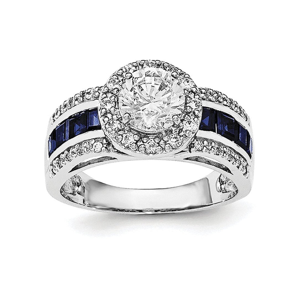 Sterling Silver Rhodium-plated CZ & Lab Created Sapphire Ring - shirin-diamonds
