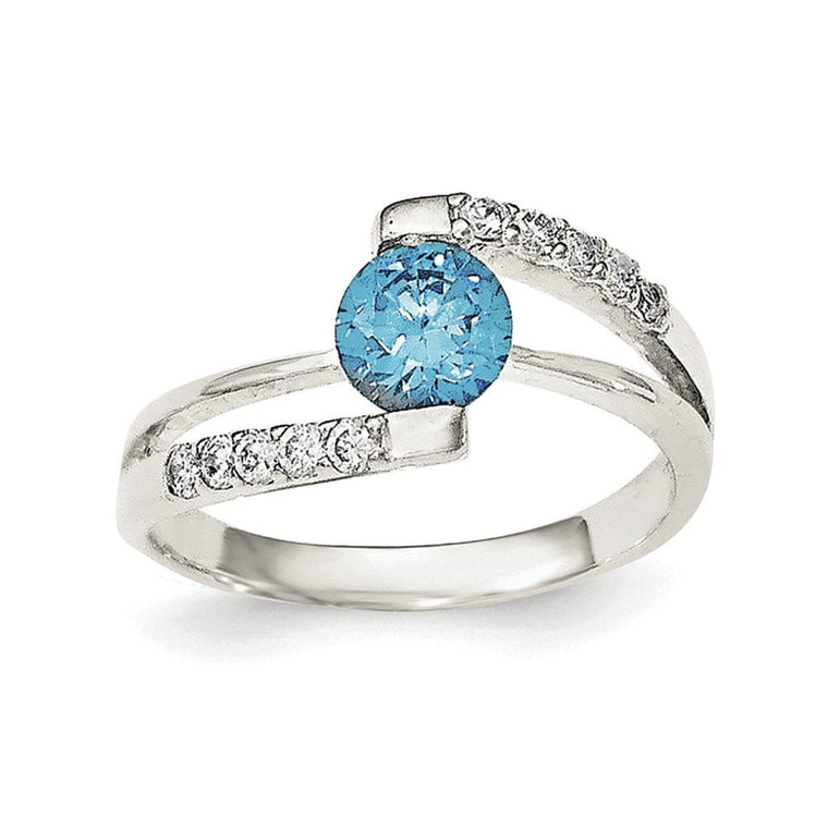 Sterling Silver Blue CZ w/CZ Accents Ring - shirin-diamonds