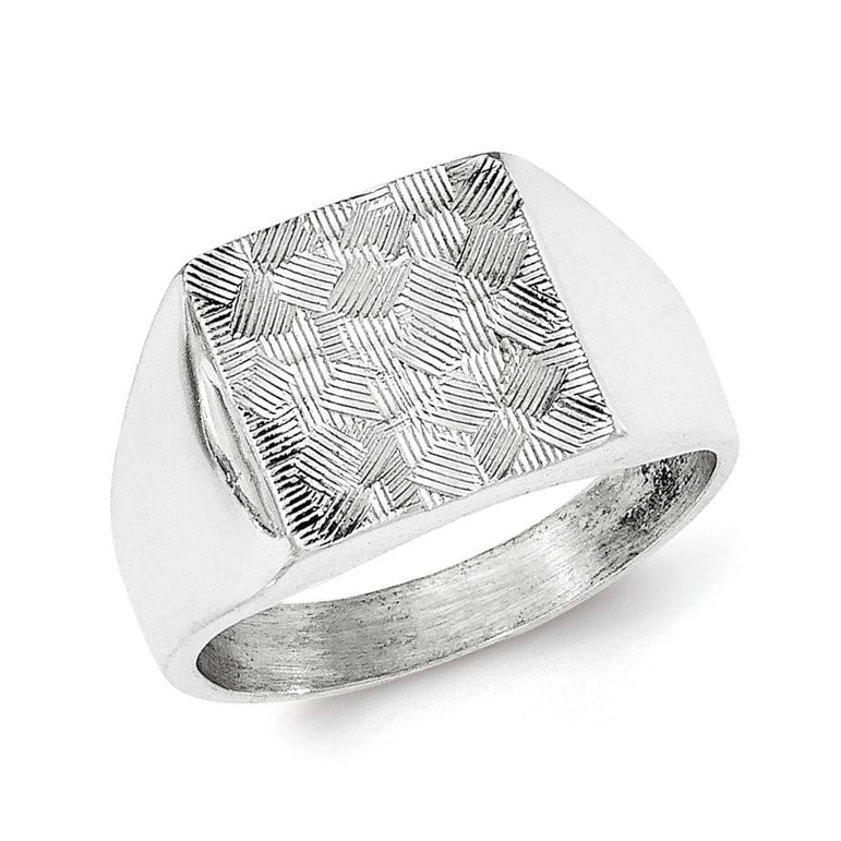 Sterling Silver Polished Textured Ring - shirin-diamonds