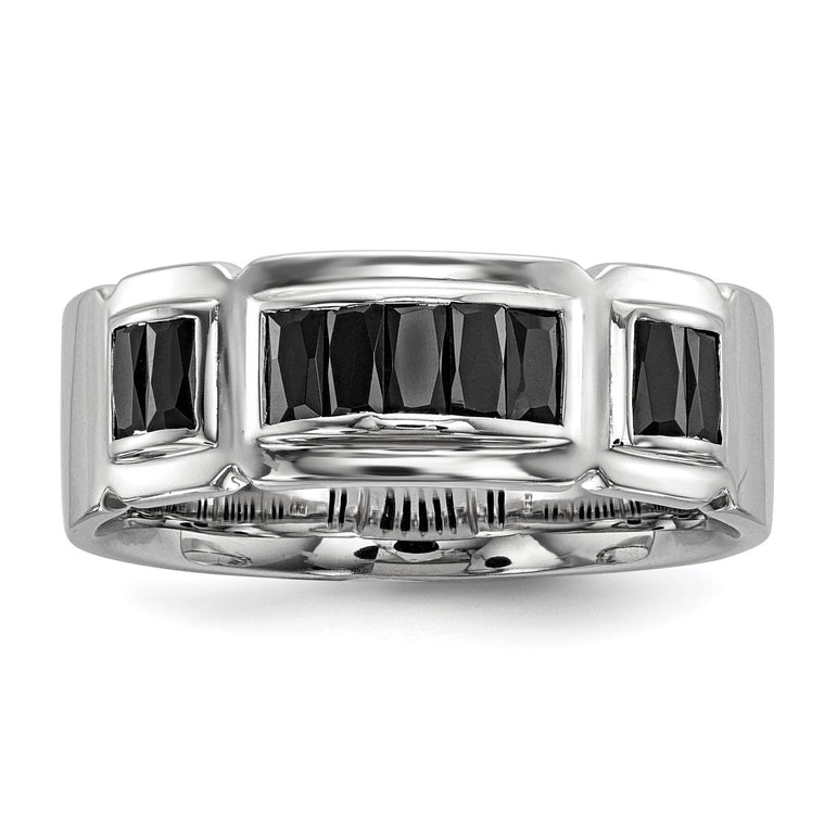 Sterling Silver Rhodium-plated Black CZ Grooved Ring - shirin-diamonds