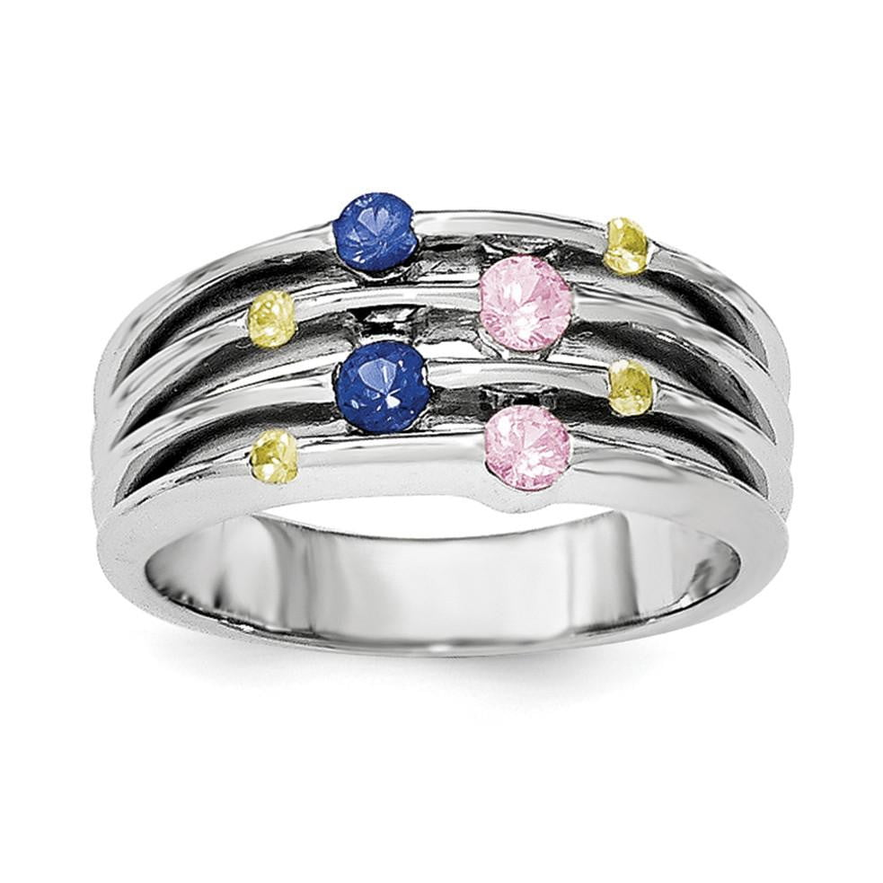 Sterling Silver Rhodium-plated Polished Multi Sapphire Ring - shirin-diamonds
