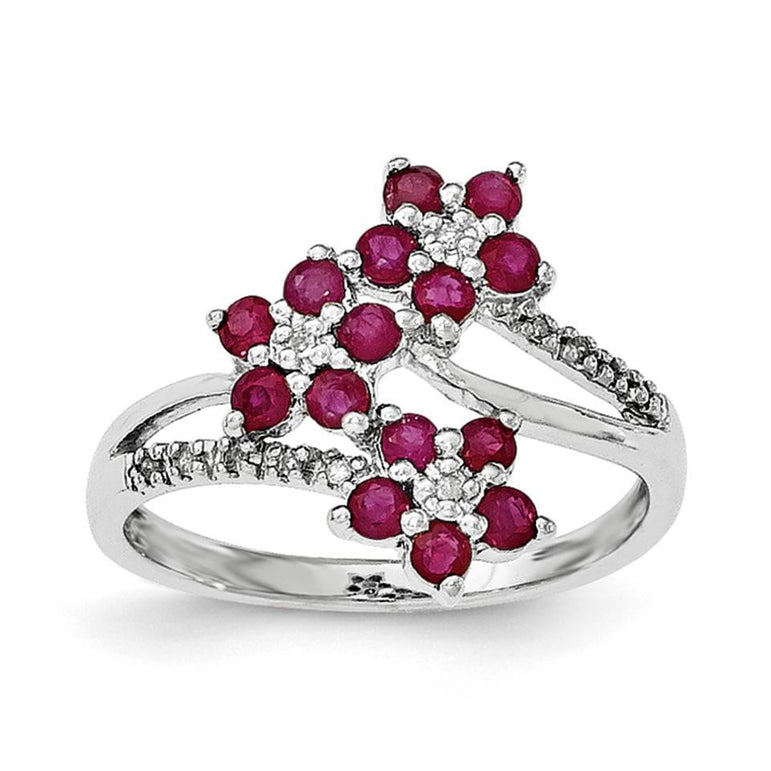 Sterling Silver Rhodium-plated 3 Flower Ruby and Diamond Ring - shirin-diamonds