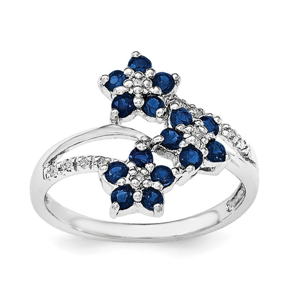 Sterling Silver Rhodium-plated 3 Flower Sapphire and Diamond Ring - shirin-diamonds