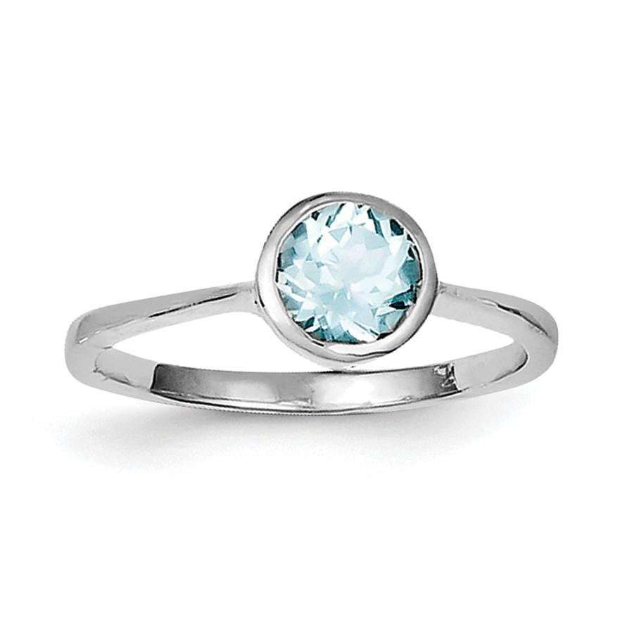 Sterling Silver Rhodium Blue Topaz Ring - shirin-diamonds