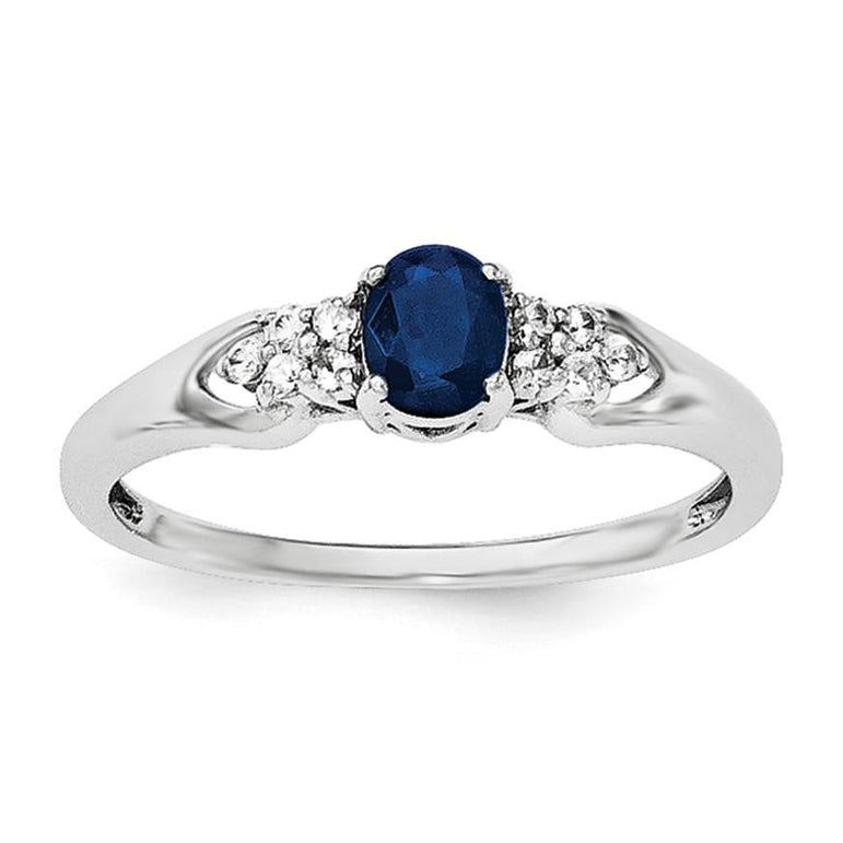 Sterling Silver Rhodium-plated Blue and White Sapphire Ring - shirin-diamonds