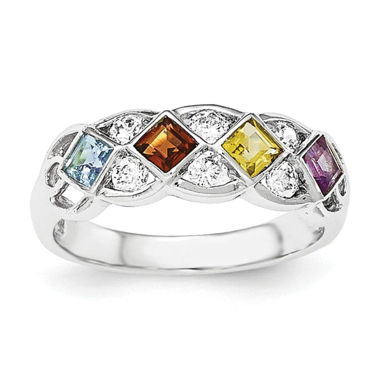 SS Rhodium-plated w/CZ, Amethyst, Citrine, Garnet & Blue Topaz Ring - shirin-diamonds
