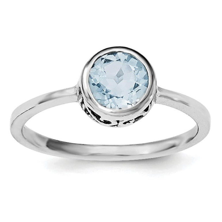 Sterling Silver Rhodium-plated Polished Blue Topaz Round Ring - shirin-diamonds