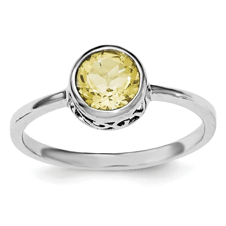 Sterling Silver Rhodium-plated Polished Citrine Round Ring - shirin-diamonds