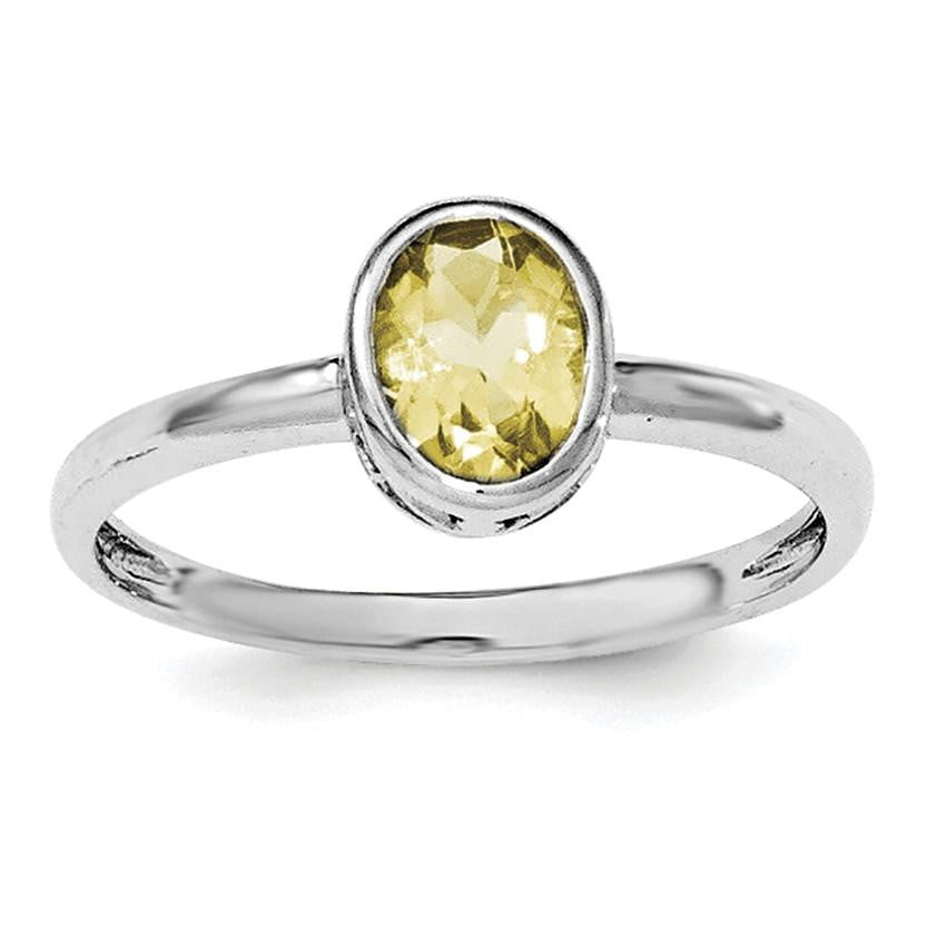 Sterling Silver Rhodium-plated Polished Citrine Oval Ring - shirin-diamonds