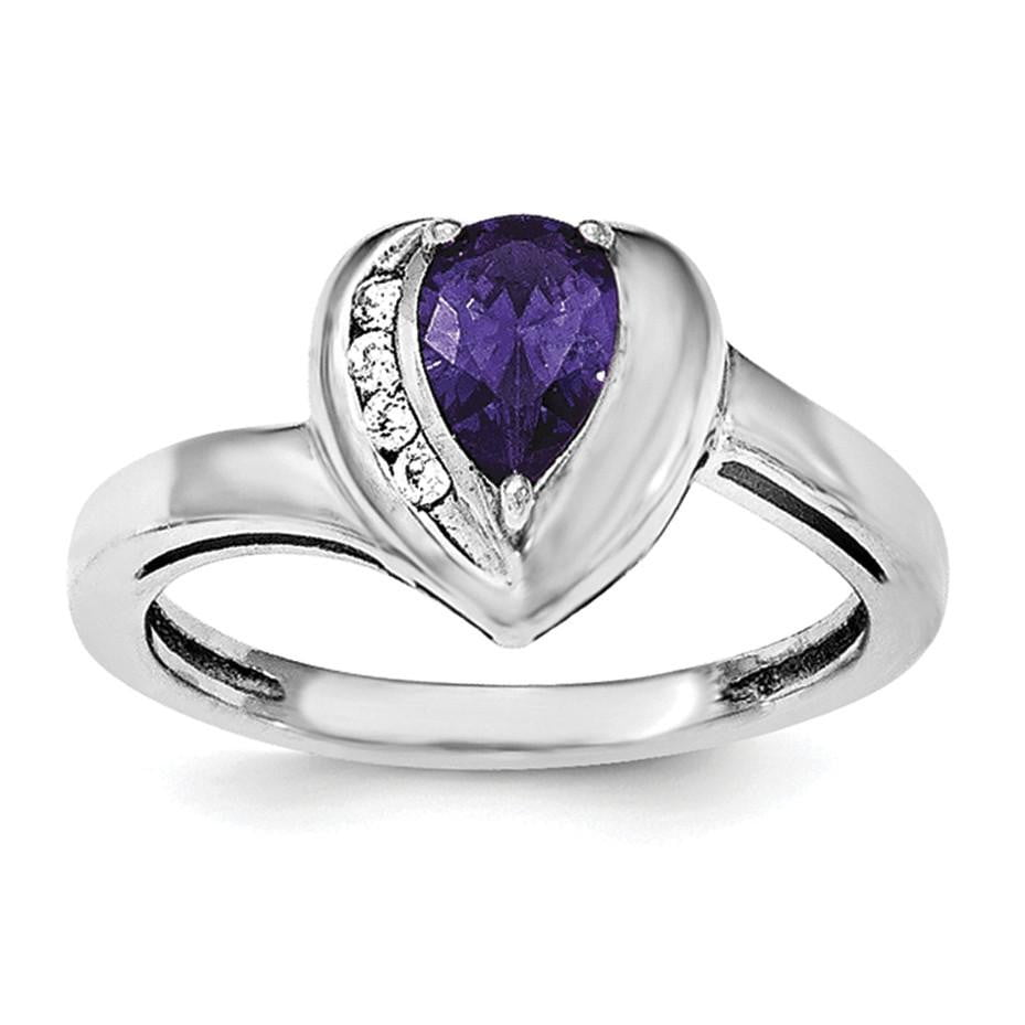 Sterling Silver Rhodium-plated Amethyst & White Topaz Heart Ring - shirin-diamonds