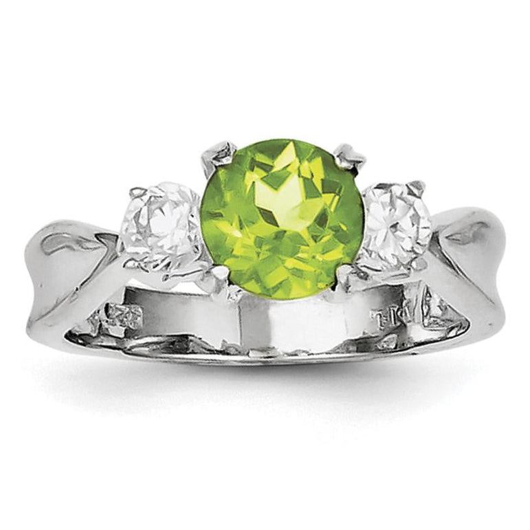 Sterling Silver Rhodium Peridot & CZ Ring - shirin-diamonds