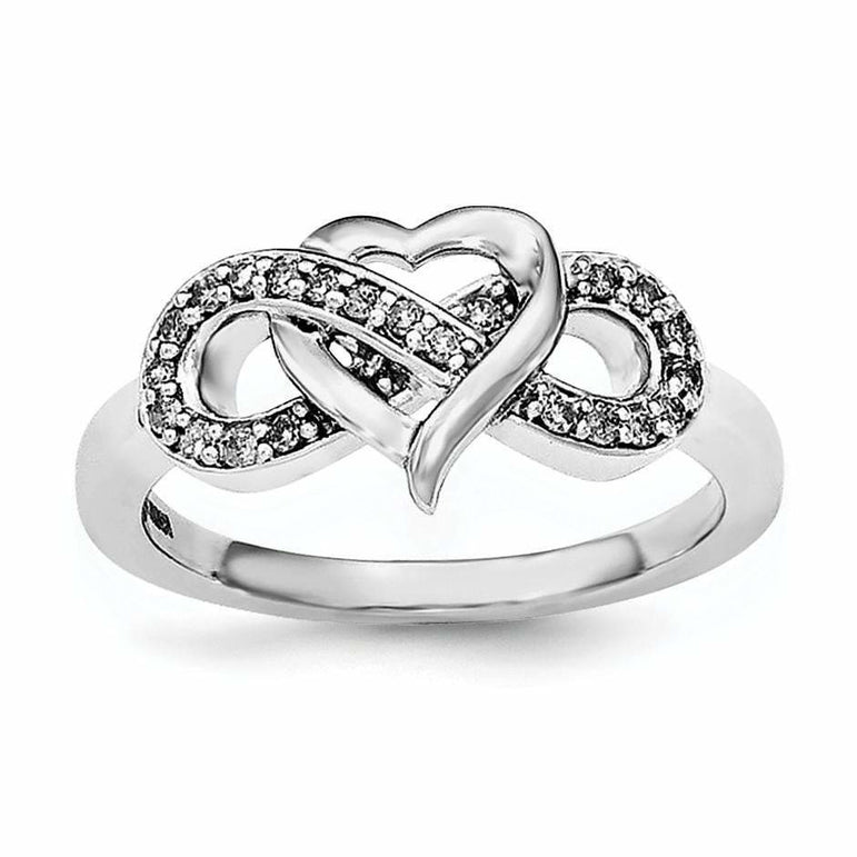Sterling Silver Rhodium Diam. Infinity Symbol Heart Ring - shirin-diamonds