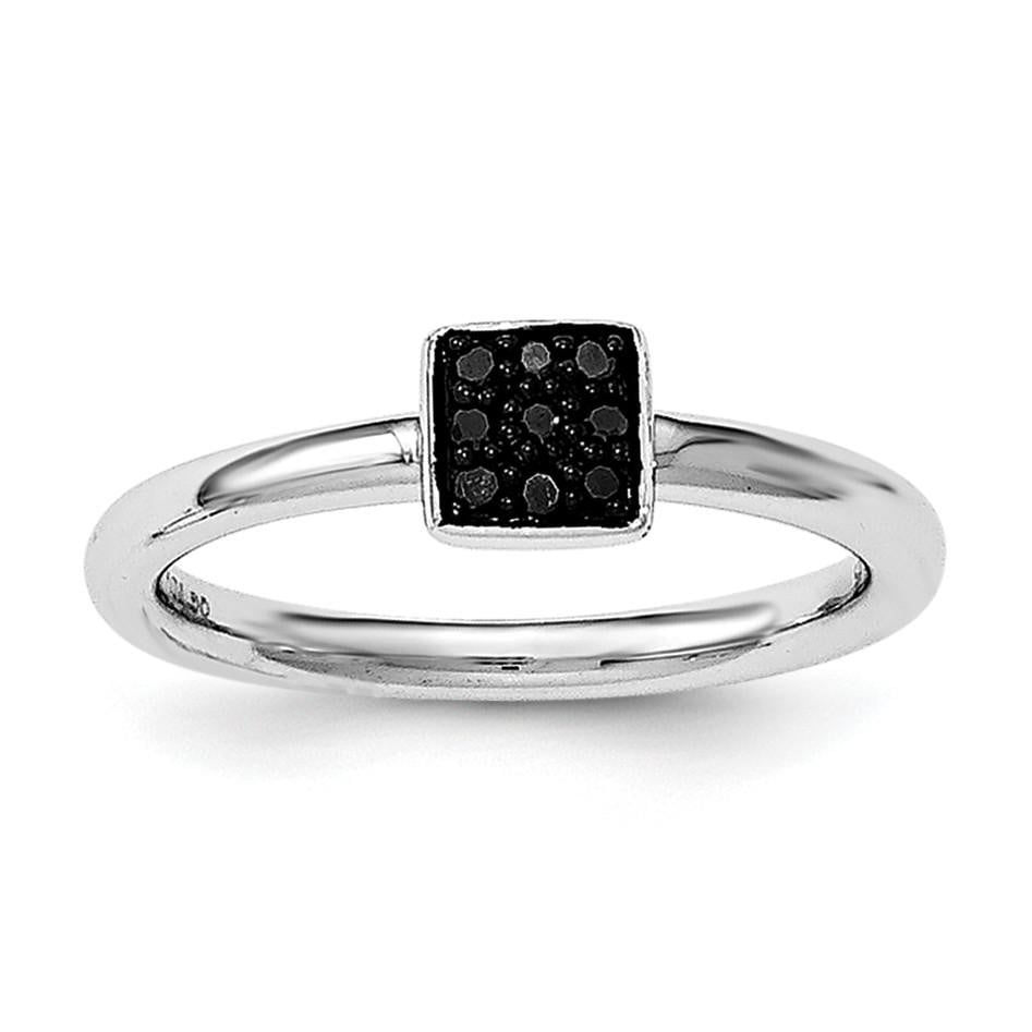 Sterling Silver Rhodium Black Diam. Ring - shirin-diamonds