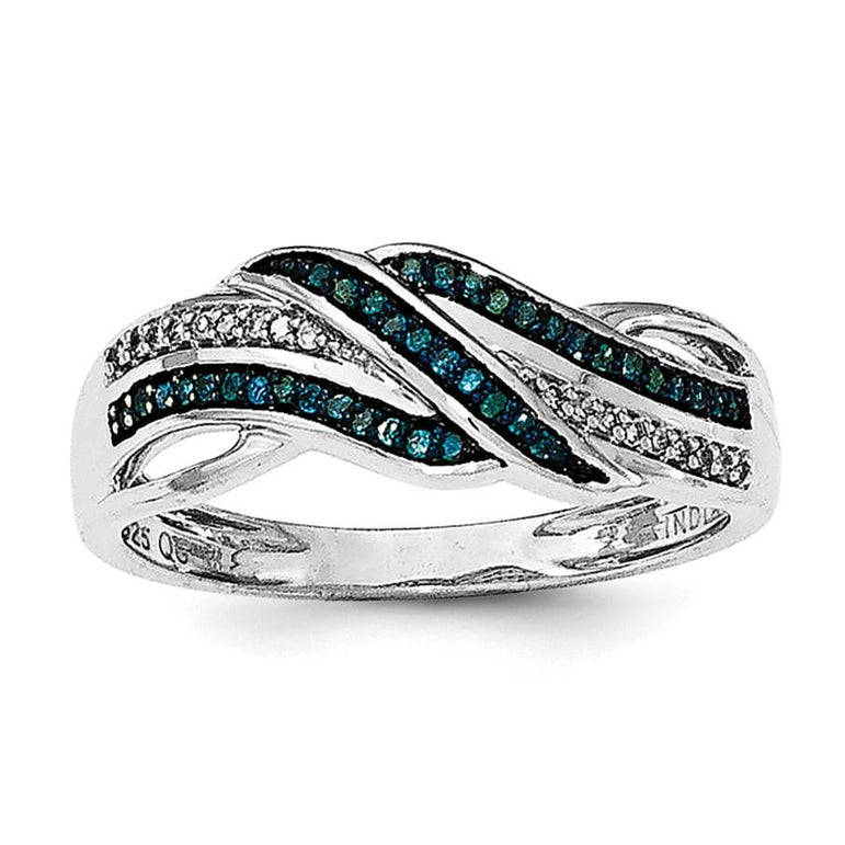 Sterling Silver Rhodium Blue and White Diam. Ring - shirin-diamonds