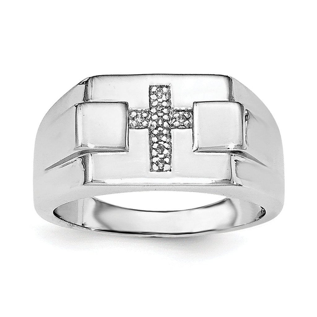 Sterling Silver Rhodium Diam. Cross Signet Ring - shirin-diamonds