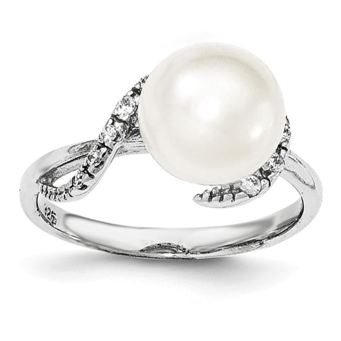 Sterling Silver Rhodium-plated 9-10mm White FWC Pearl & CZ Ring - shirin-diamonds