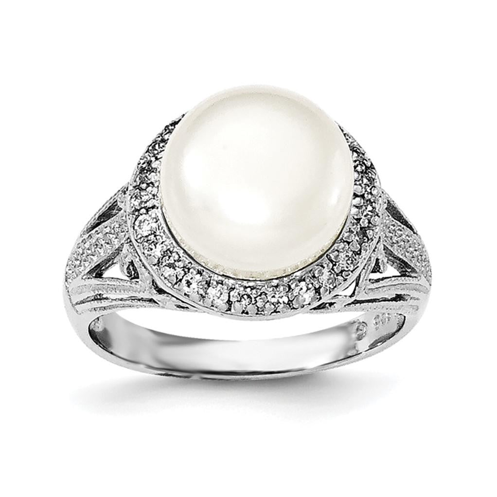 Sterling Silver 10-11mm White FW Cultured Pearl and CZ Ring - shirin-diamonds