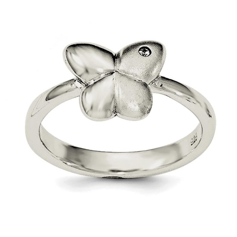 Sterling Silver Polished & Satin CZ Butterfly Ring