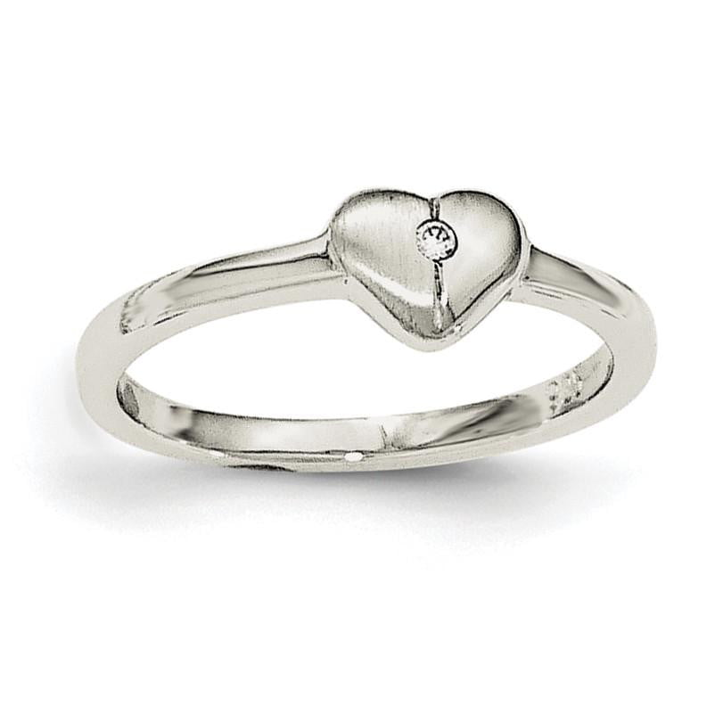 Sterling Silver Rhodium-plated Polished CZ Heart Ring - shirin-diamonds