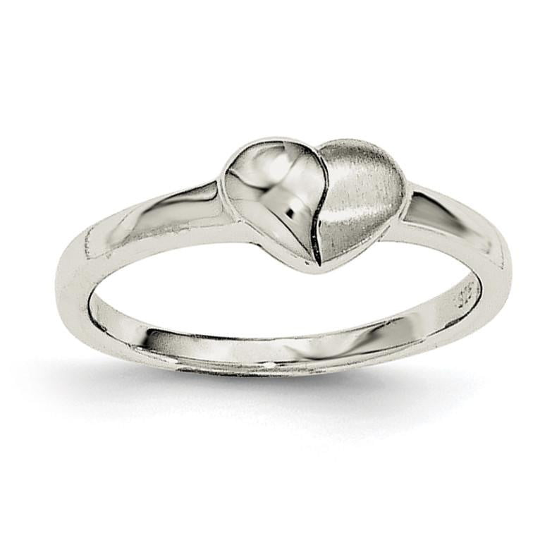 Sterling Silver Polished & Satin Heart Ring