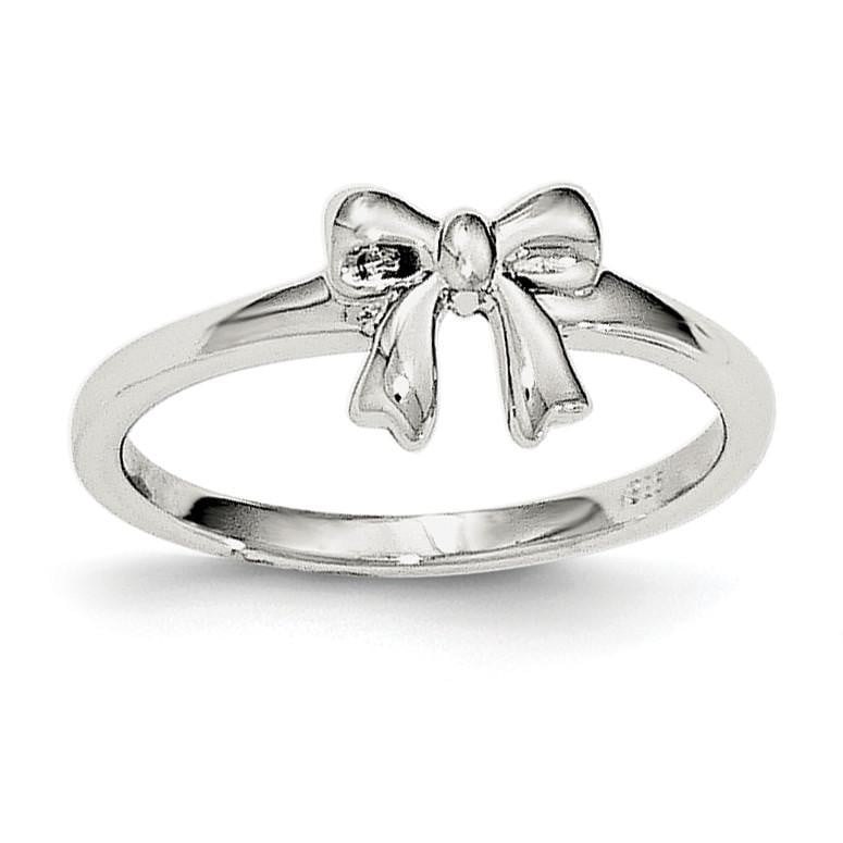 Sterling Silver Polished Bow Ring - shirin-diamonds
