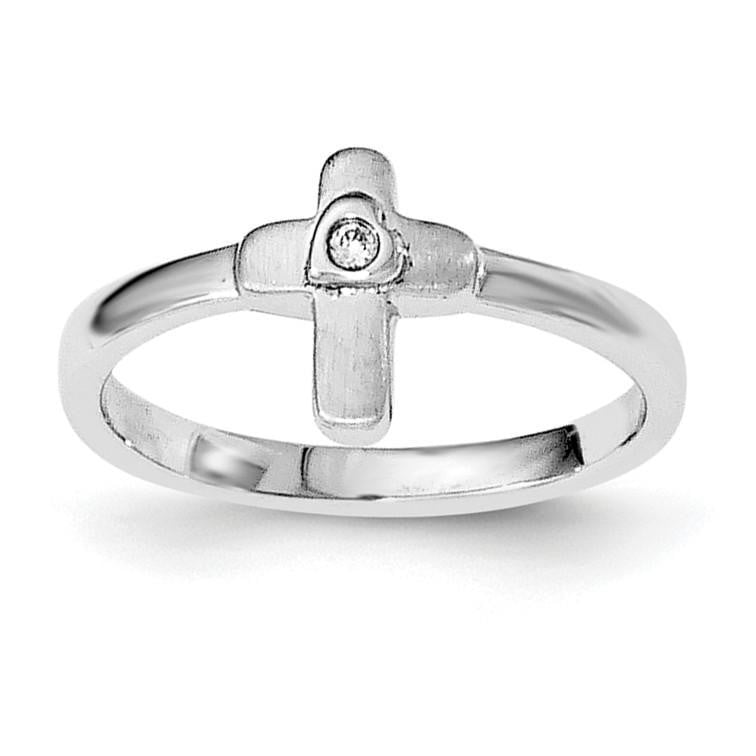 Sterling Silver Rhodium-plated Polished CZ Cross Ring