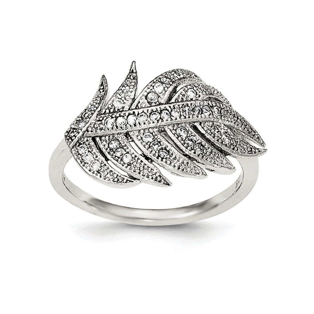 Sterling Silver Rhodium-plated CZ Leaf Ring - shirin-diamonds