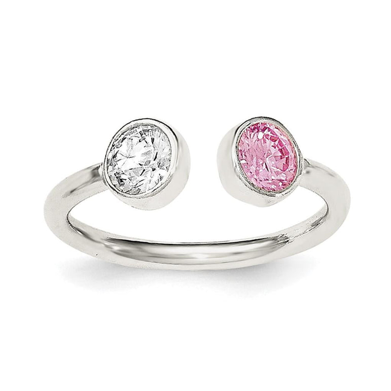 Sterling Silver Polished Pink and White CZ Adjustable Ring - shirin-diamonds