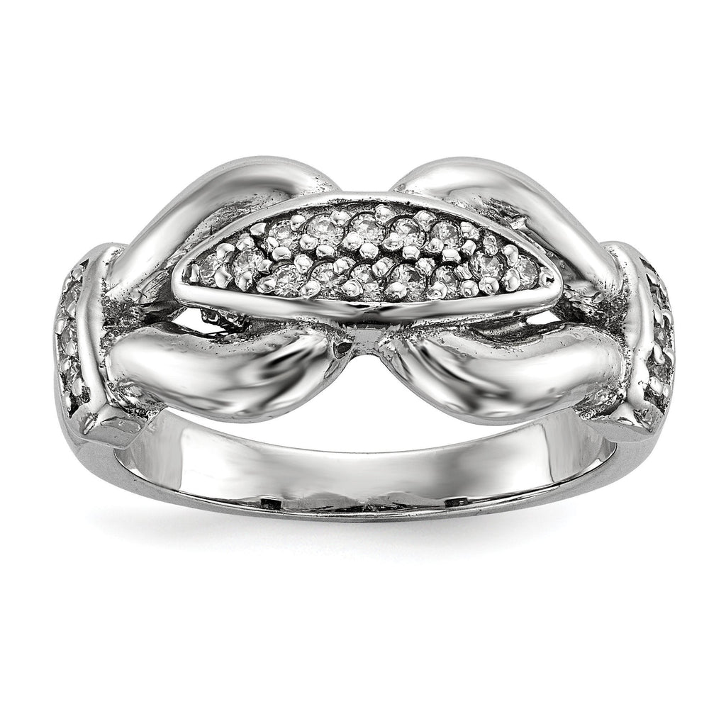 Sterling Silver Rhodium-plated Polished and Textured Fancy CZ Ring - shirin-diamonds