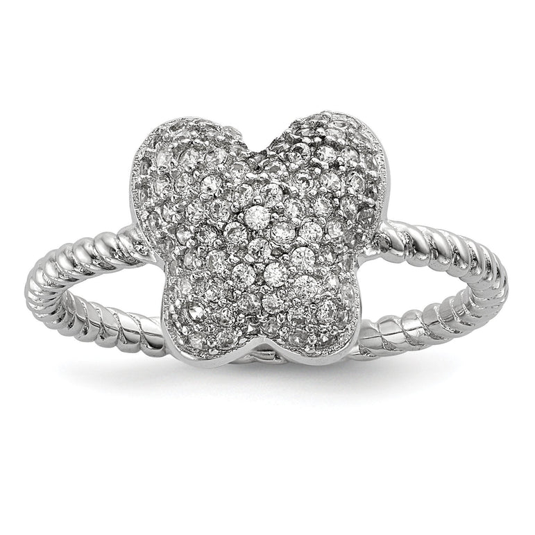 Sterling Silver Rhodium-plated CZ Butterfly Ring - shirin-diamonds
