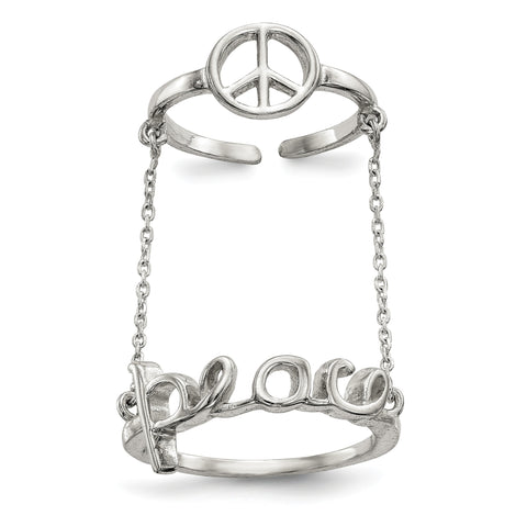 Sterling Silver Polished Chain & Peace Double Ring