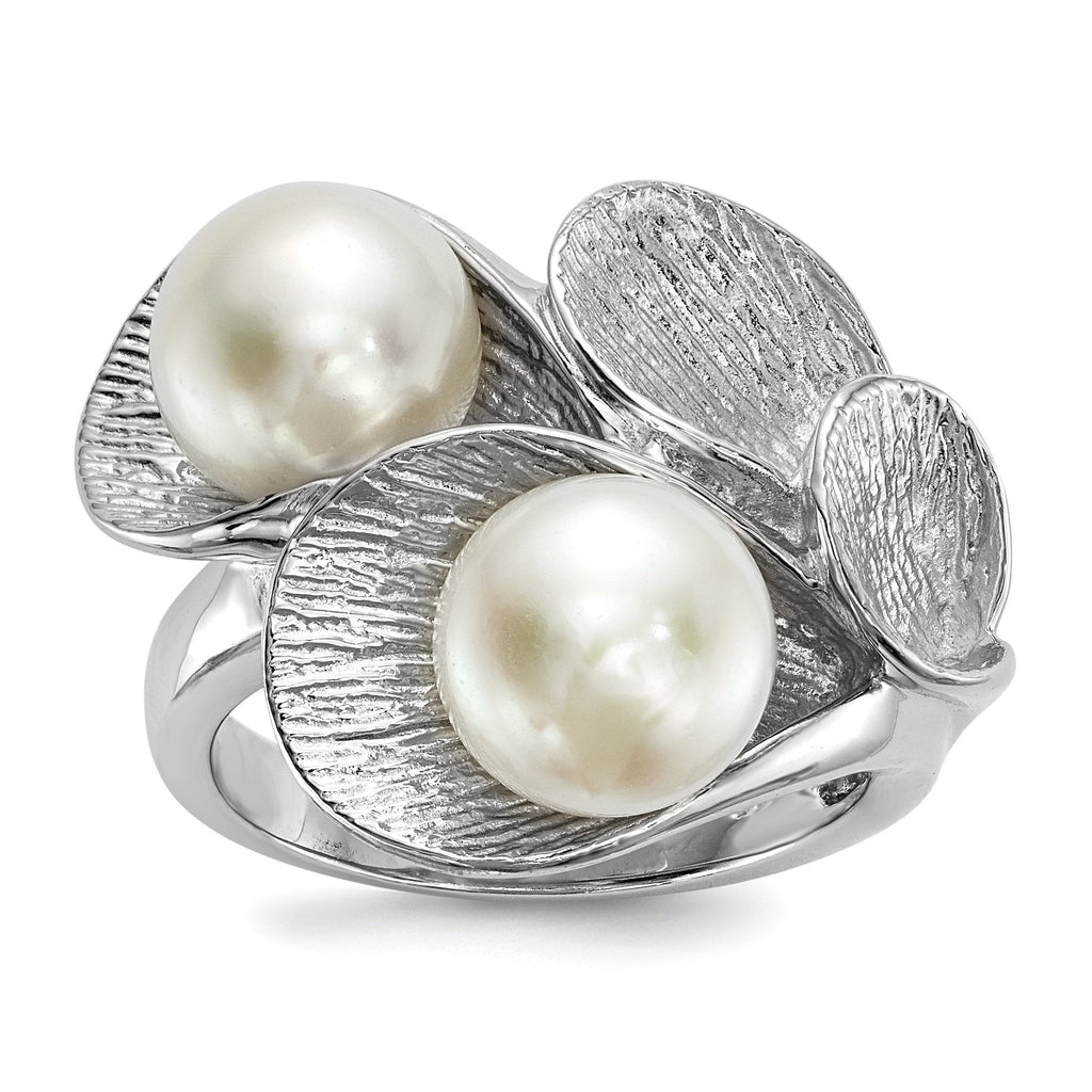 Sterling Silver RH 8-9mm White Button FWC Pearl Ring - shirin-diamonds