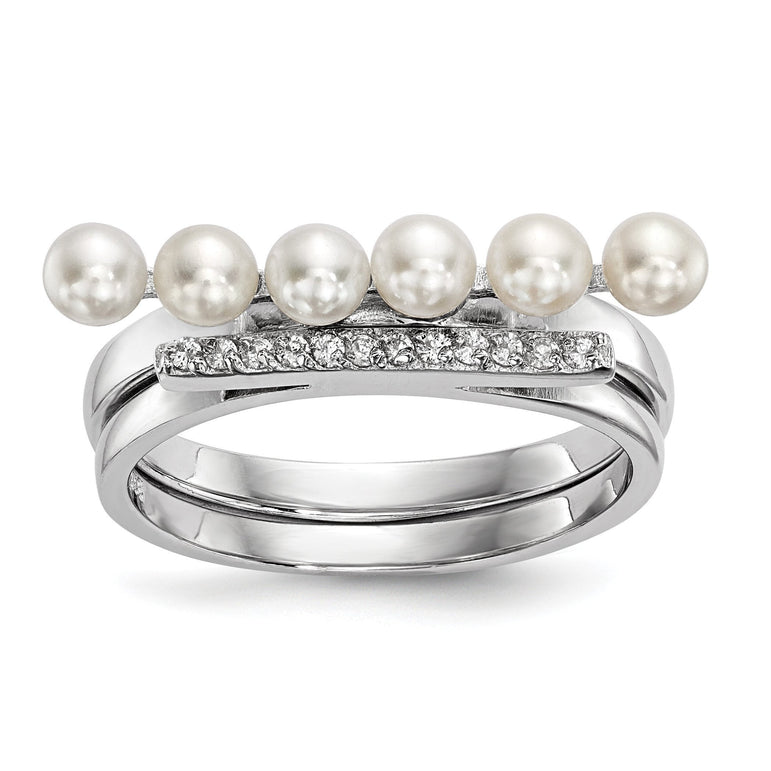 Sterling Silver RH-plated 3-4mm White FWC Pearl CZ Duo Ring - shirin-diamonds